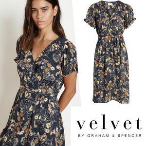 NWT Velvet by G&S Fall Floral Midi Wrap Dress